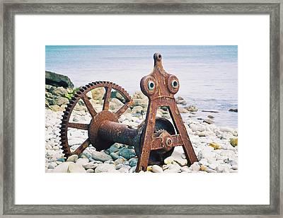 Rusty Boat Winch Framed Print by Terri Waters
