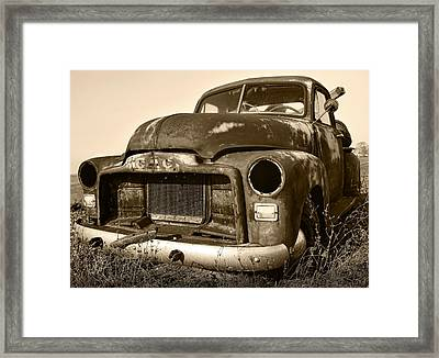 Rusty But Trusty Old Gmc Pickup Framed Print