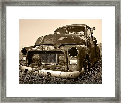 Rusty But Trusty Old Gmc Pickup Truck - Sepia Framed Print