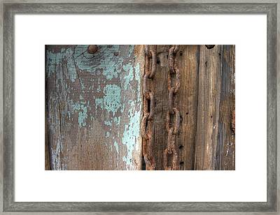Rusty Chain Barn Wood Teal Turquoise Peeling Paint Framed Print by Jane Linders