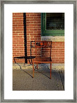 Framed Print featuring the photograph Rusty Chair At Sunset by Corinne Rhode