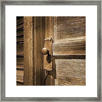 Rusty Door Knob Sepia Toned Framed Print