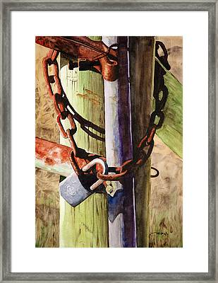 Rusty Fence Gate Framed Print