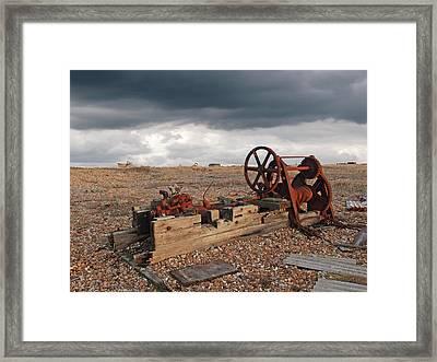 Rusty Gears Abandoned On The Beach Framed Print