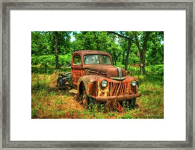 Rusty Gold 1947 Ford Stakebed Truck Art Framed Print by Reid Callaway