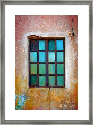 Rusty Green Window Framed Print by Carlos Caetano