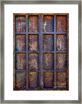 Rusty Iron Window Framed Print by Carlos Caetano