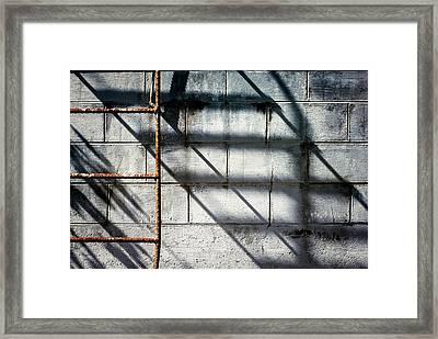 Rusty Ladder On Blue Industrial Art Framed Print by Carol Leigh