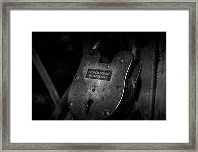 Rusty Lock In Bw Framed Print