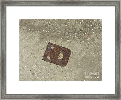 Rusty Metal Hinge Smiley Framed Print