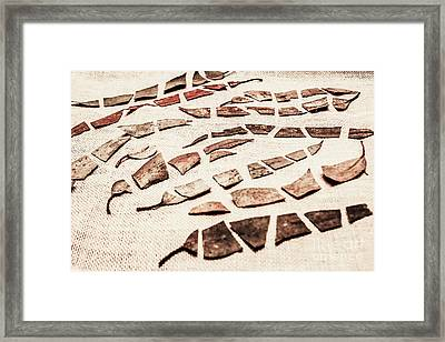 Rusty Metal Leaves Cut With Scissors Framed Print