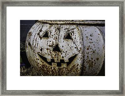 Rusty Metal Pumpkin Framed Print by Garry Gay