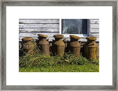Rusty Milk Cans Framed Print by Garry Gay