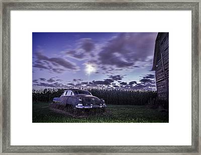 Rusty Old Cadillac In The Moonlight Framed Print