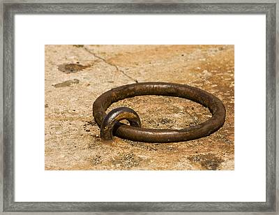 Rusty Old Docking Ring Framed Print by Mark Hendrickson