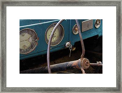 Rusty Plymouth Dashboard Framed Print by Nick Gray