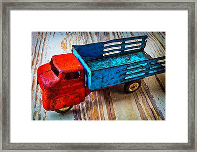 Rusty Red Blue Truck Framed Print by Garry Gay