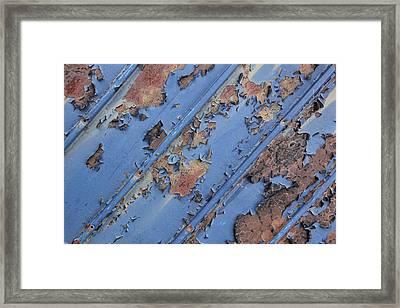 Rusty Sheet Metal Framed Print by Michel Poulin