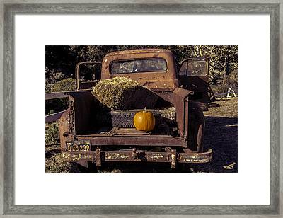 Rusty Truck With Pumpkin Framed Print by Garry Gay