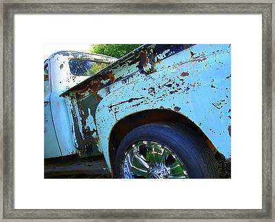 Rusty Truck With Shiny Rims Framed Print