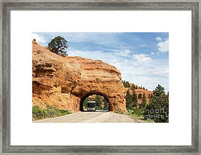 Rv Red Canyon Tunnel Utah Framed Print