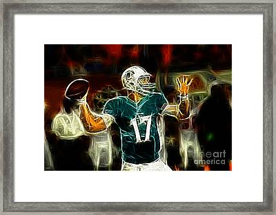Ryan Tannehill - Miami Dolphin Quarterback Framed Print by Paul Ward