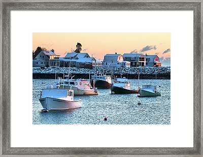 Rye Harbor Winter Morning Framed Print by Eric Gendron