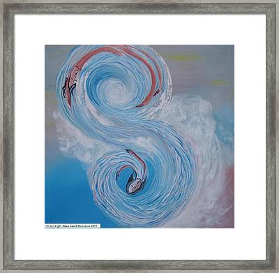 Framed Print featuring the painting S Waves by Sima Amid Wewetzer