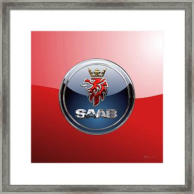 Saab - 3d Badge On Red Framed Print by Serge Averbukh
