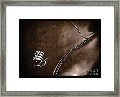 Saab 93 Emblem Raw Hide Leather Framed Print