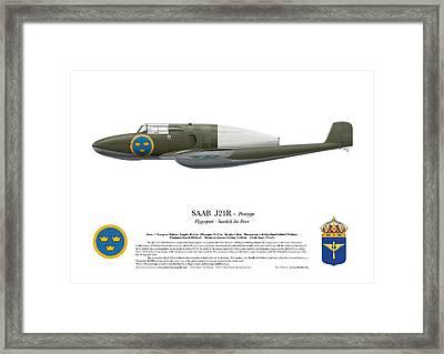 Saab J 21 R - Prototype -  Side Profile View Framed Print by Ed Jackson
