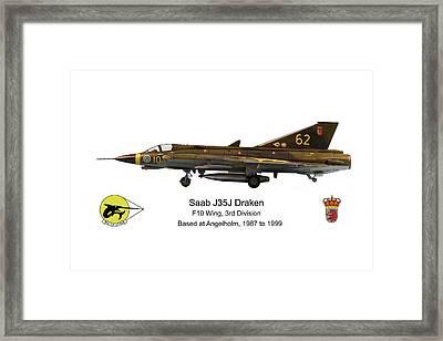 Saab J35j Draken Profile Framed Print by Richard Filteau