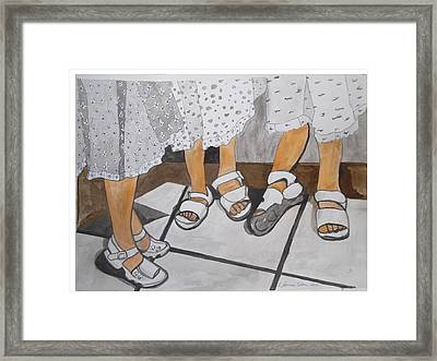 Framed Print featuring the painting Sabbath Sandals by Esther Newman-Cohen