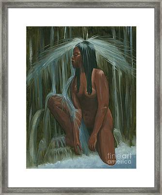 Sacagawea In The Water Cave Framed Print