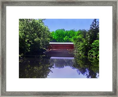 Sachs Covered Bridge In Gettysburg  Framed Print by Bill Cannon
