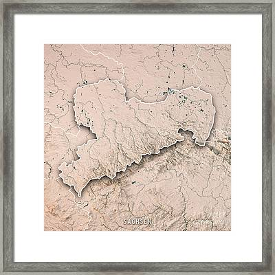 Sachsen Bundesland Germany 3d Render Topographic Map Neutral Bor Framed Print