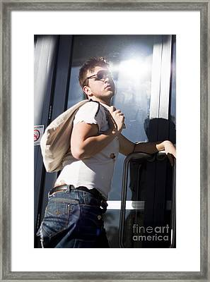 Sacked Man Entering Unemployment Office Framed Print by Jorgo Photography - Wall Art Gallery