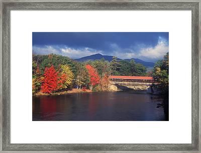 Saco River Covered Bridge Storm Framed Print by John Burk