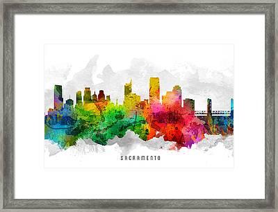 Sacramento California Cityscape 12 Framed Print by Aged Pixel