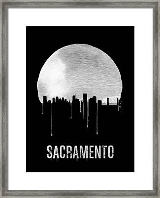 Sacramento Skyline Black Framed Print by Naxart Studio