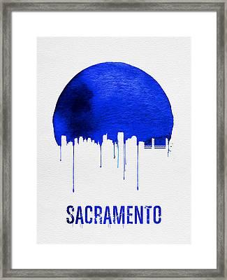 Sacramento Skyline Blue Framed Print by Naxart Studio