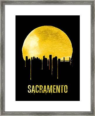 Sacramento Skyline Yellow Framed Print by Naxart Studio
