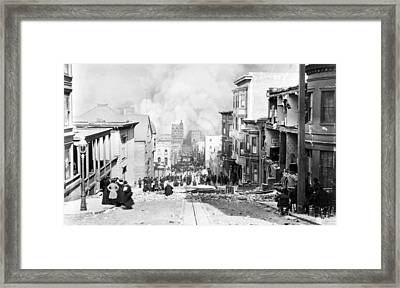 Sacramento Street Burning - San Francisco Earthquake - 1906 Framed Print