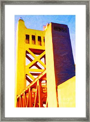 Sacramento Tower Bridge In Abstract - 7d11564 Framed Print by Wingsdomain Art and Photography