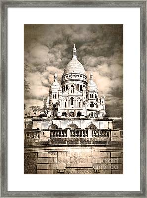 Sacre Coeur Sepia Framed Print by Jane Rix