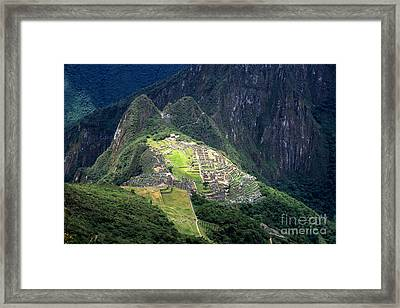 Sacred City Of Machu Picchu Framed Print by James Brunker