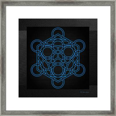 Sacred Geometry - Black Dodecahedron With Blue Halo Over Black Canvas Framed Print