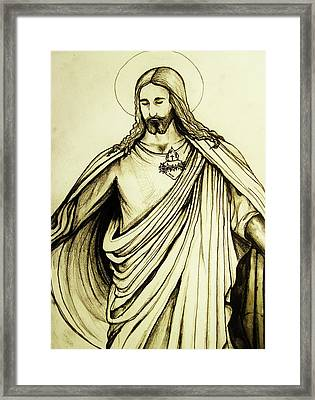Framed Print featuring the drawing Sacred Heart by Mary Ellen Frazee