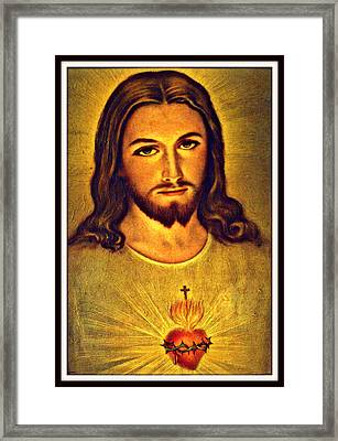 Sacred Heart Of Jesus Framed Print by Aron Chervin