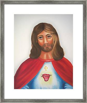 Sacred Heart Of Jesus Framed Print by Joni McPherson